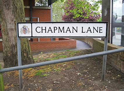 Ipswich Historic Lettering: Chapman Lane sign