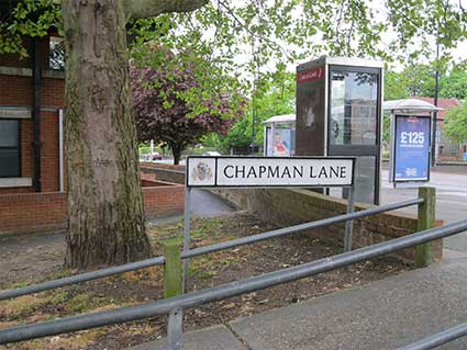 Ipswich Historic Lettering: Chapman Lane sign 2