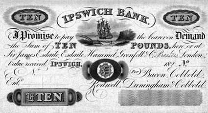 Ipswich Historic Lettering: Cobbolds Bank note