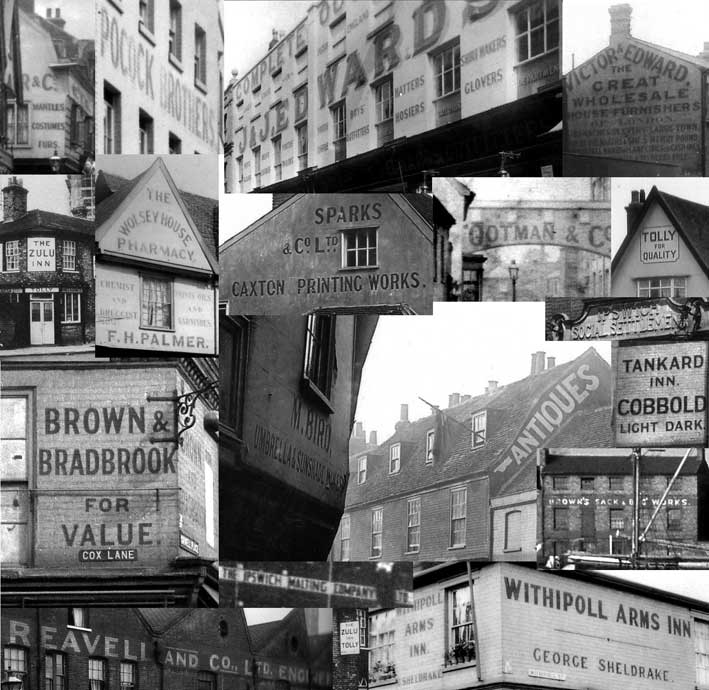Ipswich Historic Lettering: collage of lost signs