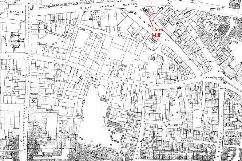 Ipswich Historic Lettering: Courts map 1883
