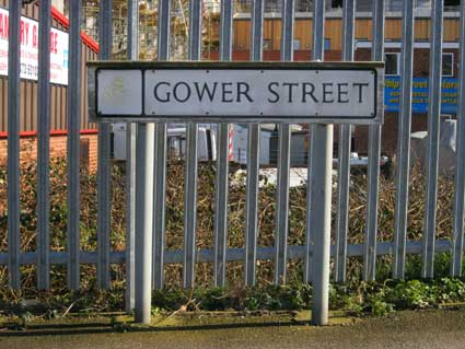 Ipswich Historic Lettering: Gower St sign