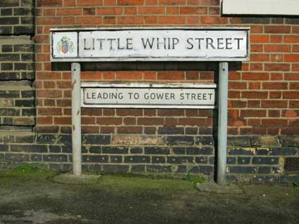 Ipswich Historic Lettering: Lt Whip St sign