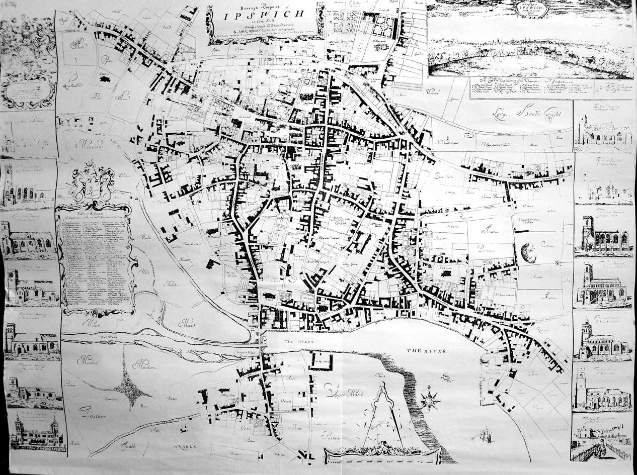 ipswich historic lettering map 1674