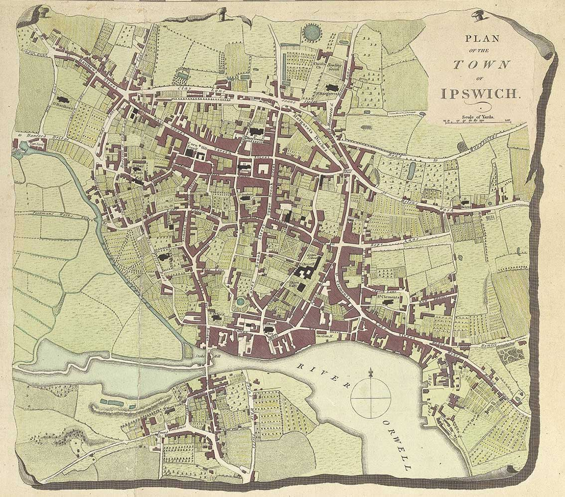 Ipswich Uk Map.Ipswich Historic Lettering Map 1780