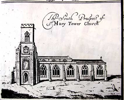 Ipswich Historic Lettering: St Mary-Le-Tower Ogilby map