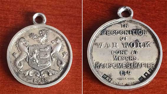 Ipswich Historic Lettering: Ransomes medal