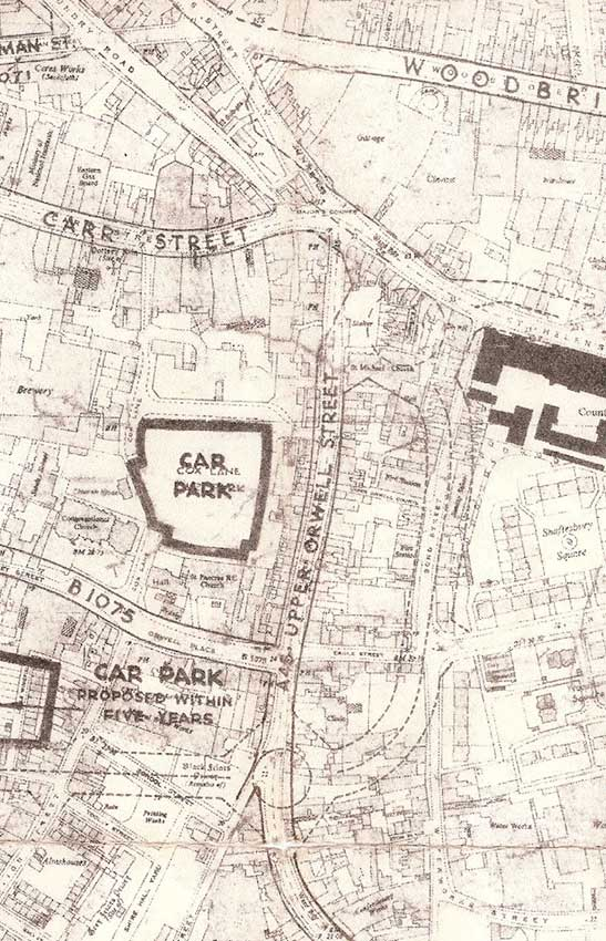 Ipswich Historic Lettering: Ring-road map 1960s 2
