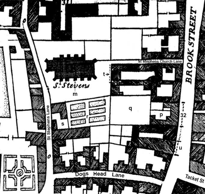 Ipswich Historic Lettering: Thos Rush map 1674
