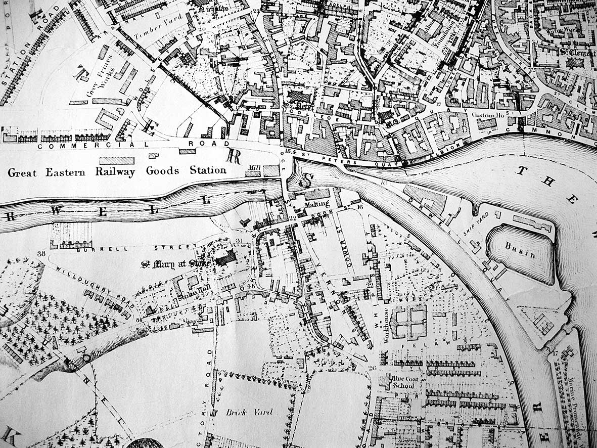 Ipswich Historic Lettering: Stoke Hall map