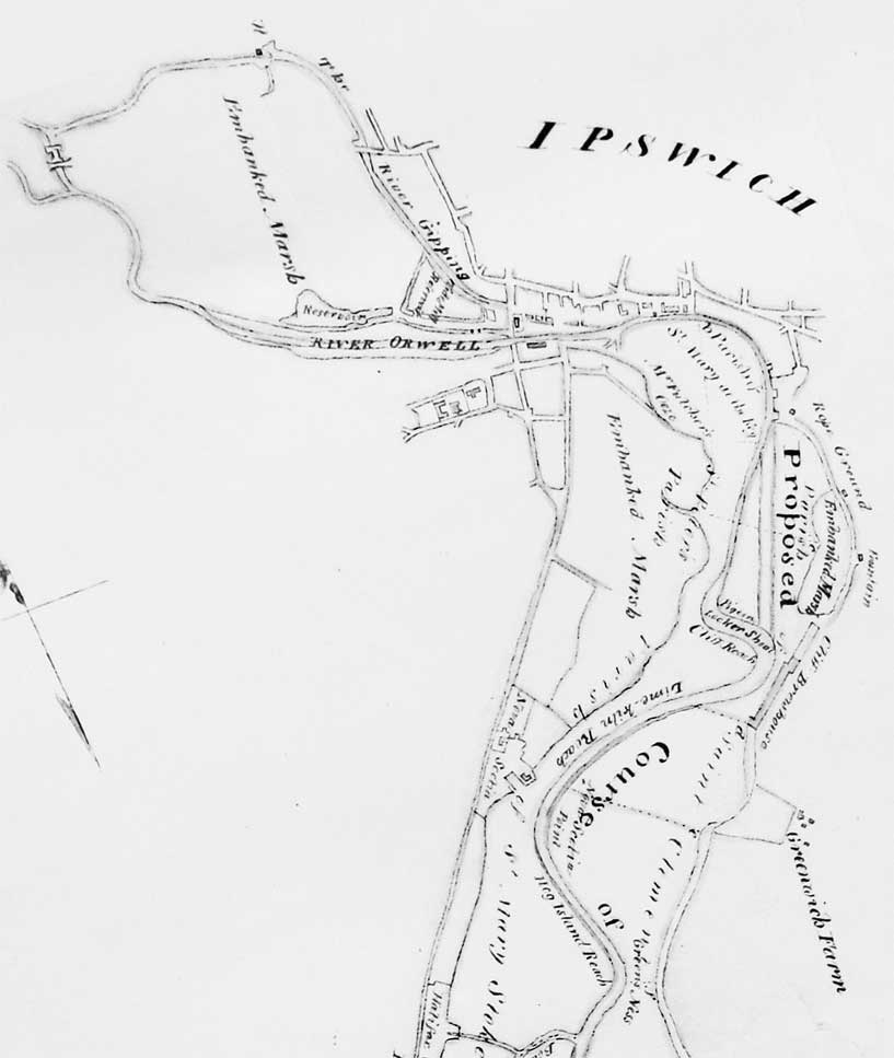 Ipswich Historic Lettering: Wet Dock map 1805 detail